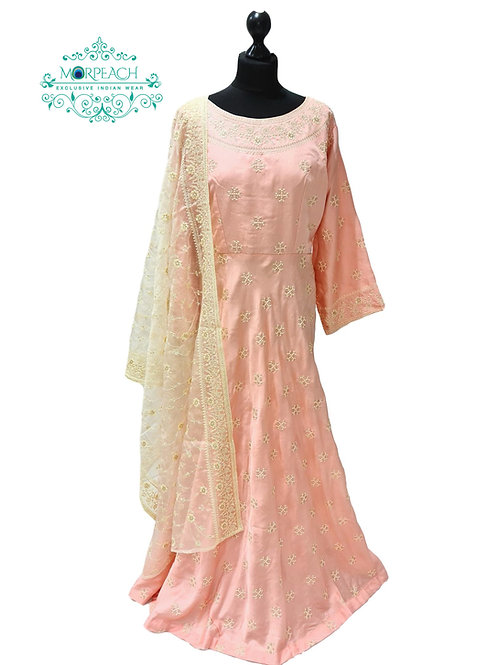 Light Pink Threadwork Silk Dress (4XL)