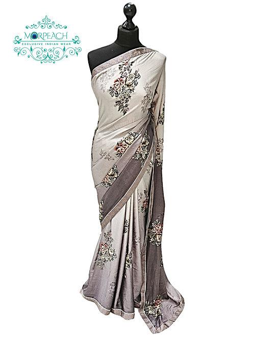 Grey Shaded Floral Satin Silk Saree