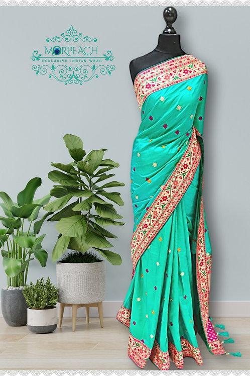 Green And Pink Silk Saree