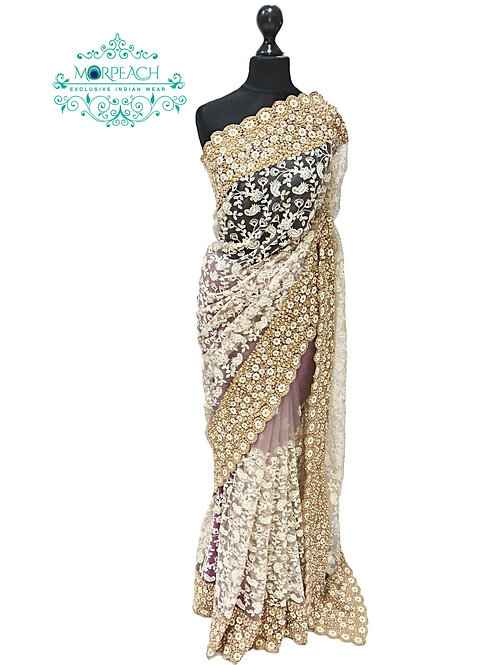 Light Purple Embroidered Net Saree