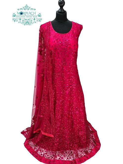 Dark Pink Embroidered Sequence Dress (4XL)