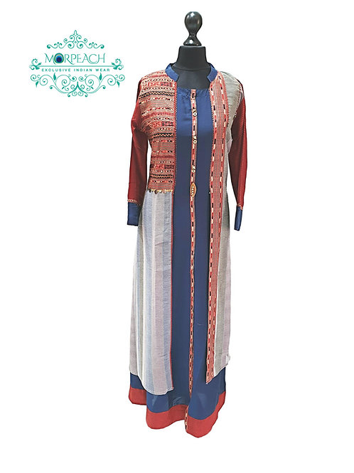 Blue And Grey Multicolored Kurti (L)