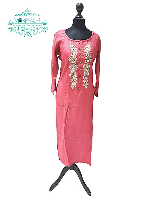 Peach Straight Cut Kurti (L)