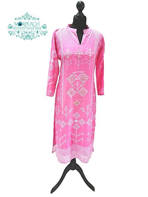 Pink Printed Bandhej Silk Kurti (M)