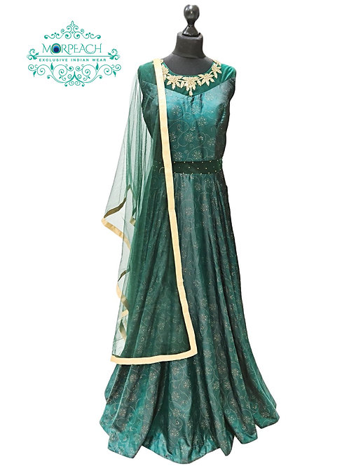Dark Green And Gold Flared Silk Gown (XL)