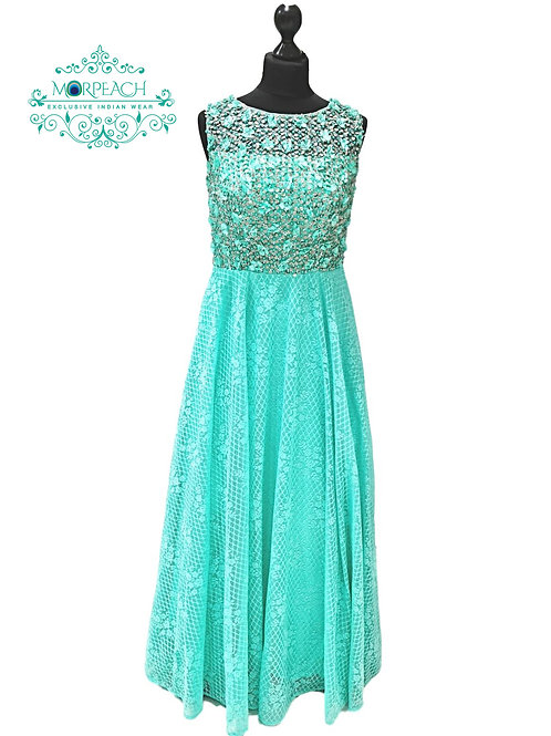 Sea Green 3D Flower Dress (R)