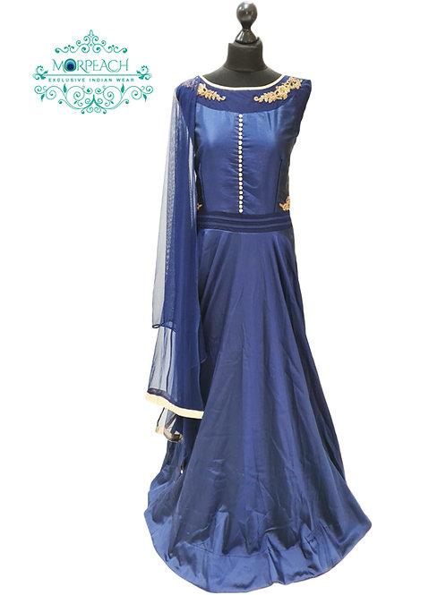 Navy Blue Flared Silk Gown