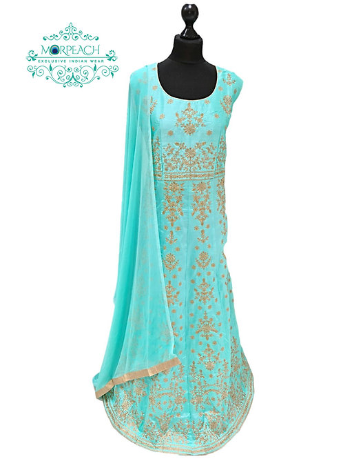 Baby Blue Gold Embroidered Dress (3XL)