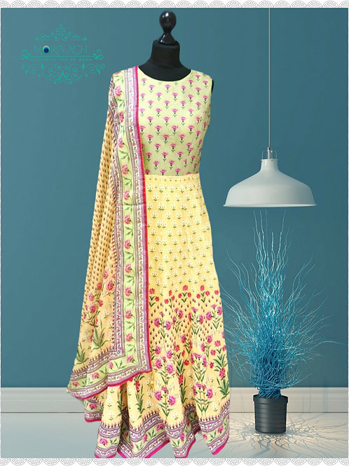 Yellow Floral Print Silk Gown (R)