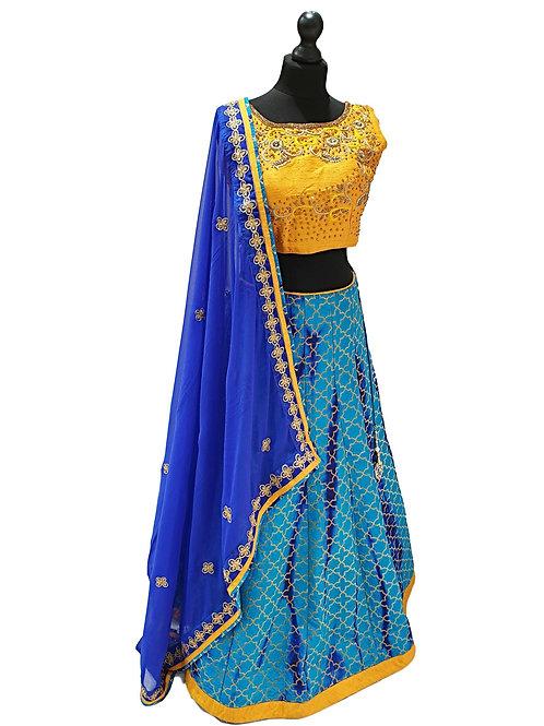 Blue and yellow silk Lehenga