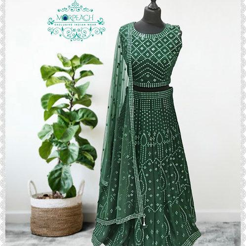 Dark Green Mirrorwork Lehenga (Reg)