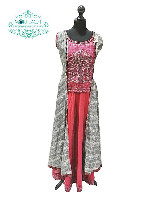 Pink And Grey Attached Jacket Kurti (4XL)