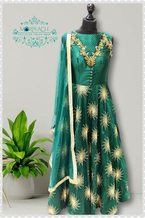 Green And Gold Sequence Dress (Reg)
