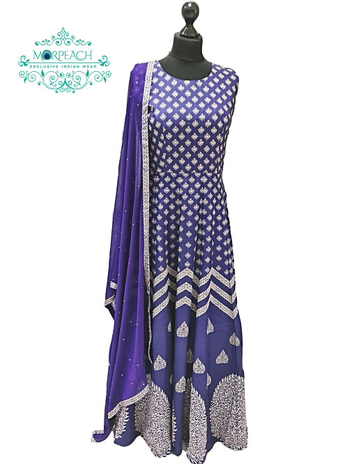 Blue Printed Silk Gown (R)