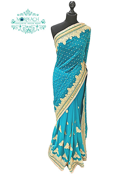 Turquoise Sequencework Chiffon Saree