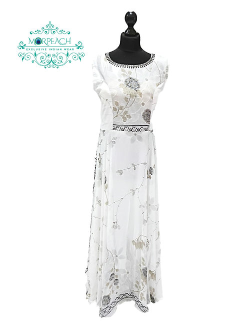 White And Grey Flary Gown