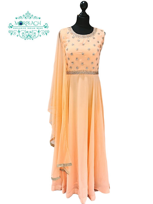 Peach Full Flared Georgette Dress (R)