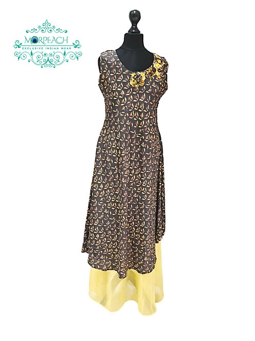 Grey And Yellow Silk Kurti