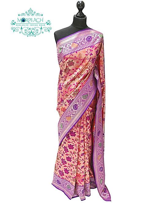 Purple Gold Twotone Silk Saree