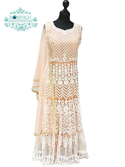 Peach and White Threadwork Net Gown