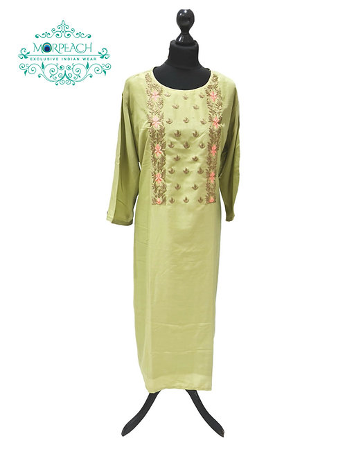 Green Straight Cotton Silk Kurti (6XL)