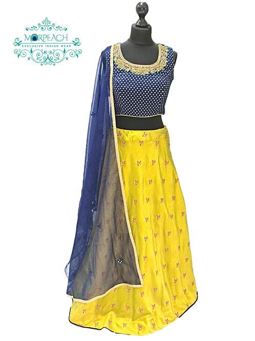 Yellow Blue Silk Lehenga