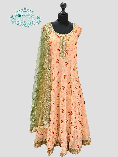Peach Threadwork Chiffon Dress (4XL)