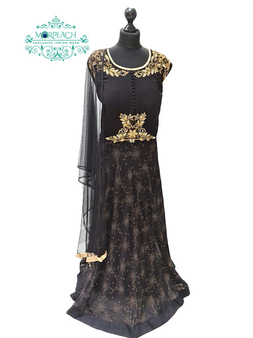Black Embossed Print Chiffon Dress (Reg)