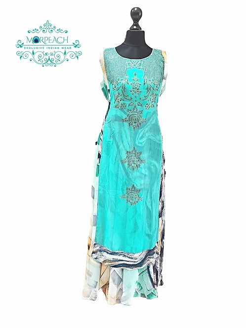 Sea Green Chiffon Swaroski Kurti (5XL)