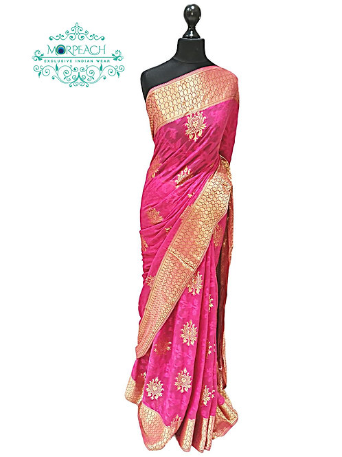 Pink Chiffon Weaving Saree