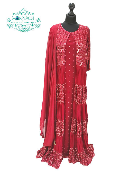 Red Layered Heavy Gown