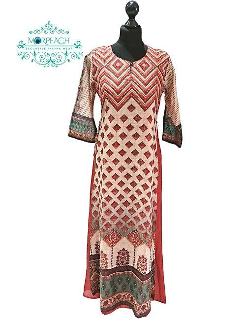 Beige And Brown Printed Silk Kurti (XL)