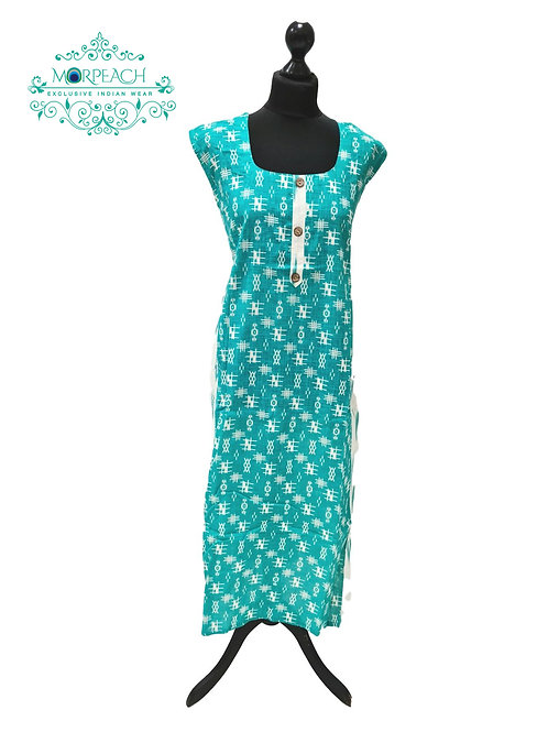 Turquoise Medium Flared Cotton Kurti