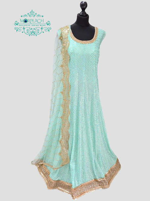 Blue Allover Sequence Dress (4XL)