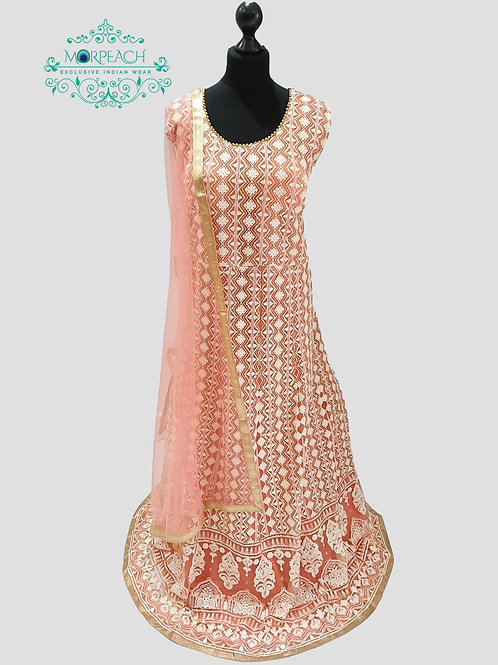 Peach Lucknowi Sequence Dress (4XL)