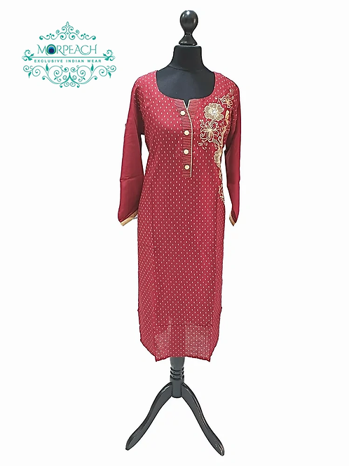 Red and Beige Kurti