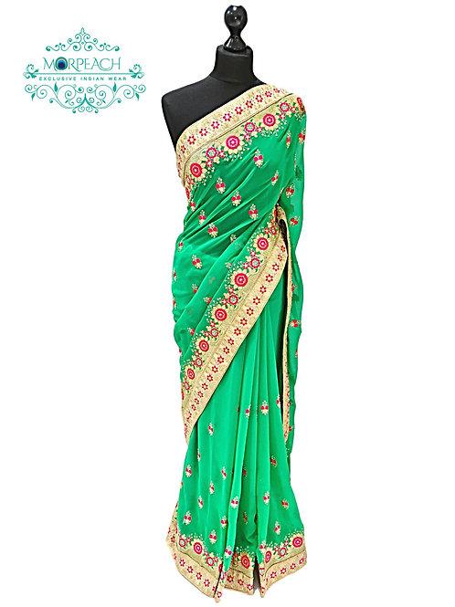 Green Pink Chiffon Saree