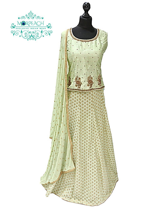 Pastel Green Brocade Lehenga (XL)
