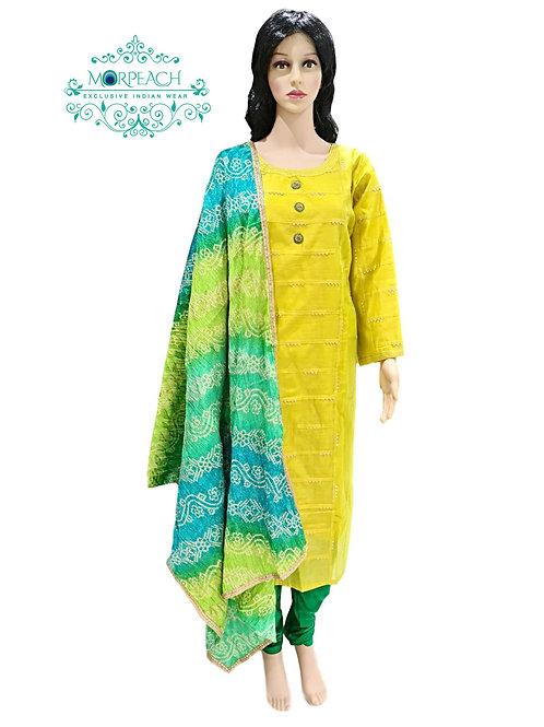 Yellow Bandhni Dupatta Straight Dress (3XL)