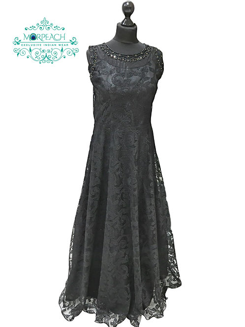 Black Net Gown With Shimmer