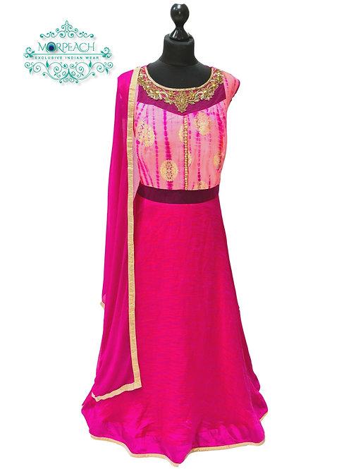 Pink Two Tone Silk Dress (4XL)