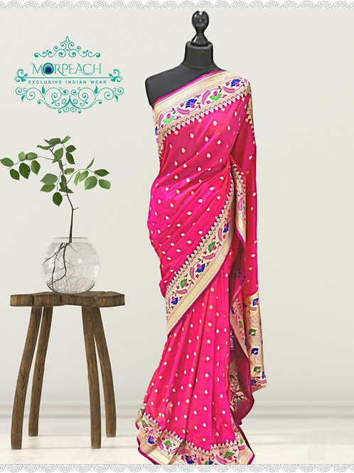 Pink Weaving Soft Silk Saree