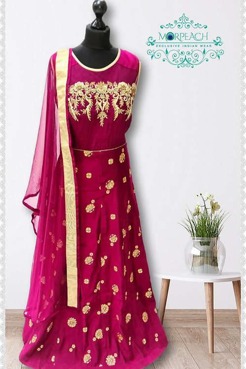 Magenta And Gold Embroidered Dress (Reg)