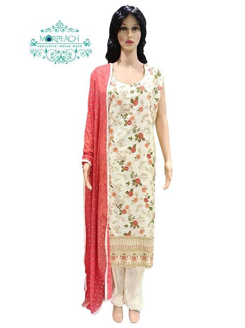 Cream Threadwork Straight Dress (4XL)