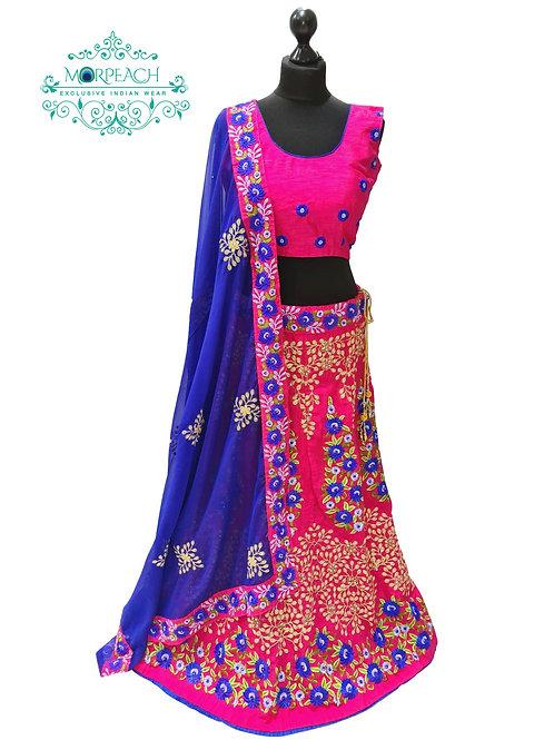 Pink & Blue Embroidered Silk Lehenga (Reg)