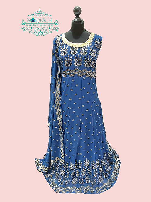 Blue Gold Embossed Sequence Dress (5XL)