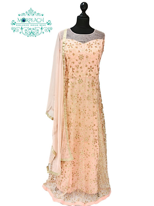 Peach Glitter and Beaded Gown
