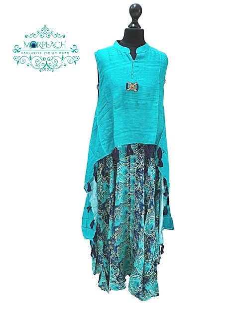 Turquoise Poncho Style Kurti (M)