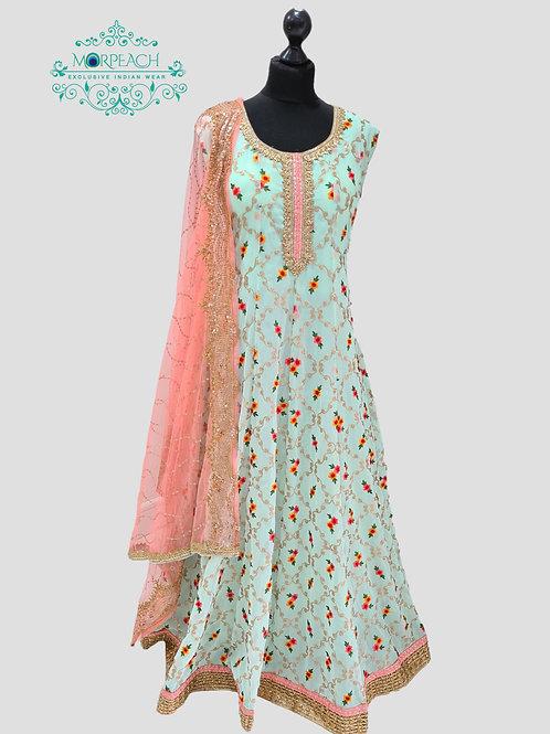Pastel  Blue Threadwork Chiffon Dress (4XL)