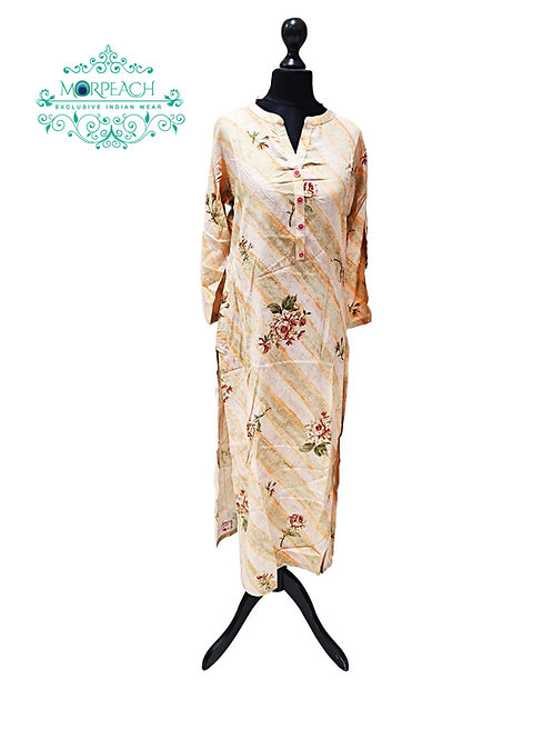 Cream And Orange Striped Kurti (XL)